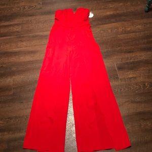 Red Jumpsuit Flare Split leg